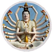White Buddha Round Beach Towel