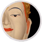 White Buddha Face Round Beach Towel