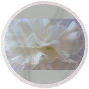 White Carnation Round Beach Towel