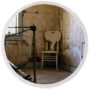 White Chair In The Bedroom Round Beach Towel by Lorraine Devon Wilke