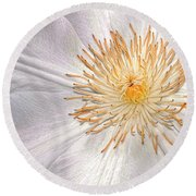 White Clematis Round Beach Towel