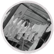 White  Cotton Laundry Blowing In The Wind Round Beach Towel