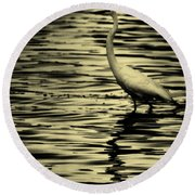 White Crane Round Beach Towel
