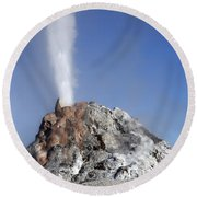 White Dome Geyser Erupting, Upper Round Beach Towel