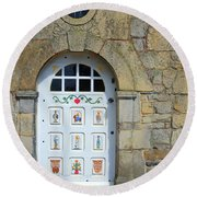 White Door Provence France Round Beach Towel