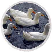 White Ducks Round Beach Towel
