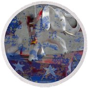 White Elephant Ride Abstract Round Beach Towel