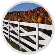 White Fence With Pumpkins Round Beach Towel