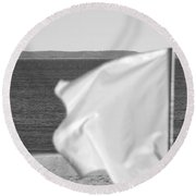 White Flag In Black And White Round Beach Towel