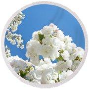 White Floral Blossoms Art Prints Spring Tree Blue Sky Round Beach Towel