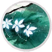 White Flowers Round Beach Towel by Anil Nene