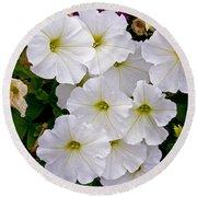 White Flowers Round Beach Towel