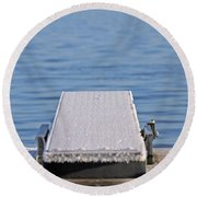 White Frost Diving Board Round Beach Towel