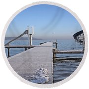 White Frost Slide Round Beach Towel