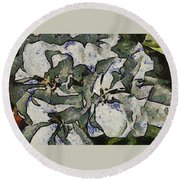 White Geraniums   -- Vangogh Round Beach Towel
