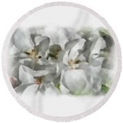 White Geraniums - Watercolor Round Beach Towel