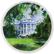 White House Round Beach Towel