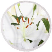 White Lilies And Background Round Beach Towel