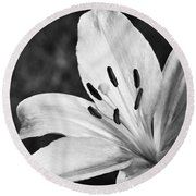 White Lilly  Round Beach Towel