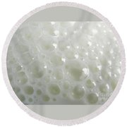 White Milk Bubbles Round Beach Towel