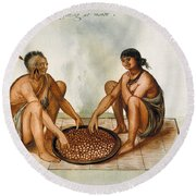 White: Native Americans Eating Round Beach Towel