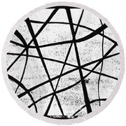 White On Black Round Beach Towel