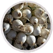 White Onions Round Beach Towel