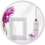 White Picture Frame In Decoration Round Beach Towel by Atiketta Sangasaeng