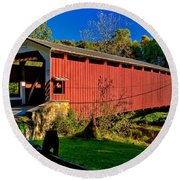 White Rock Forge Covered Bridge Round Beach Towel