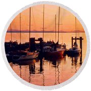White Rock Sailboats Hdr Round Beach Towel