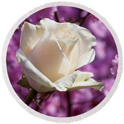 White Rose And Plum Blossoms Round Beach Towel