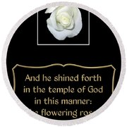 White Rose With Bible Verse From Sirach Round Beach Towel