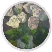 White Roses Round Beach Towel