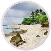 White Sand Beach Moal Boel Philippines Round Beach Towel