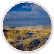 White Sands Golden Grass Round Beach Towel
