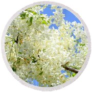 White Shower Tree Round Beach Towel