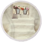 White Steps Round Beach Towel
