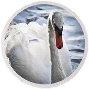 White Swan Round Beach Towel