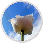 White Tulip Round Beach Towel