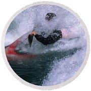 White Water Kayaker Round Beach Towel