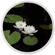 White Water-lily 4 Round Beach Towel