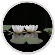 White Water-lily 6 Round Beach Towel