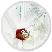 White Wildflower V Round Beach Towel