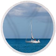 White Yacht Sails In The Sea Along The Coast Line Round Beach Towel