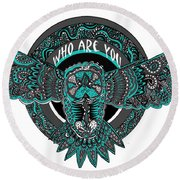 Who Are You Blue Round Beach Towel