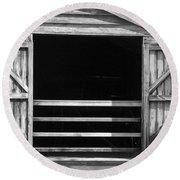 Who Opened The Barn Door Round Beach Towel by Teresa Mucha