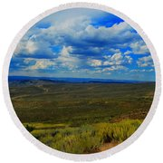 Wide Open Wyoming Sky Round Beach Towel
