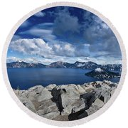 Wide View Of Crater Lake Round Beach Towel