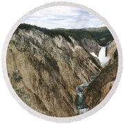 Wide View Of The Lower Falls In Yellowstone Round Beach Towel