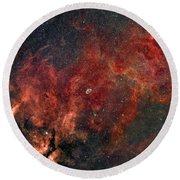 Widefield View Of He Crescent Nebula Round Beach Towel